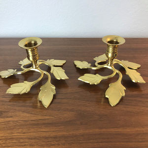 Brass Candle Holders Leaves Design Decor